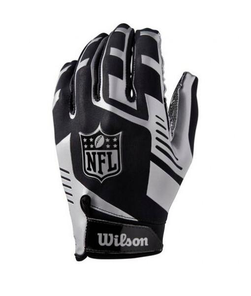 Gant de football Wilson NFL Stretch-Fit, Argent/Noir